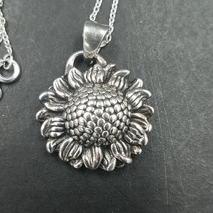 Sterling Sunflower Pendant Necklace